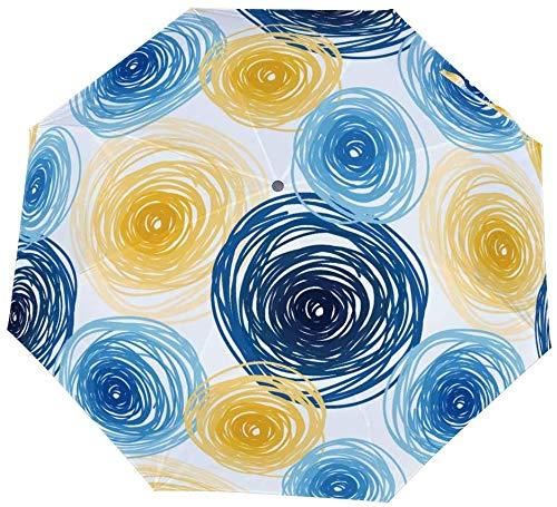 Paraguas manual de tres pliegues Círculos de colores Ornamento de azulejos abstractos Estilo artístico Nano Paraguas plegable de tres pliegues Protector solar que cubre el sol y la lluvia-Manual