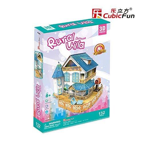 PLAYSTORE Puzzle 3D avec LED Rural Villa Maison DE POUPÉES 132 Pieces