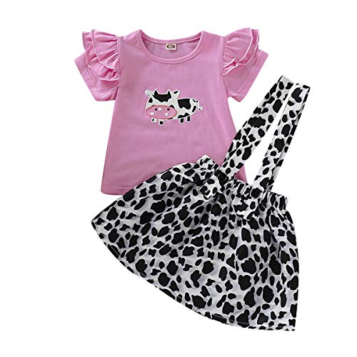 Toddler Baby Girl Ruffled Fly Sleeve Cow Top Shirts + Leopard Suspender Skirts Overall Dress Clothes (6-12 Months, Cow)