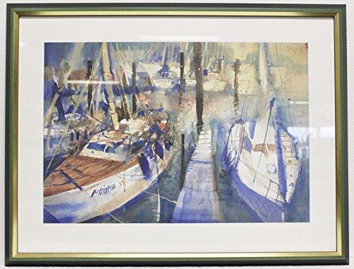 Galeriebilder GALERIEQUALITÄT Kunstdruck Aquarell Bootsanlieger 78x85 cm Bild, Yacht, Rahmen