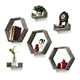 Wall Shelf Set of 6 - Rustic Wood 3 Hexagon Boxes and 3 Small Shelves for Free Grouping Driftwood Finish