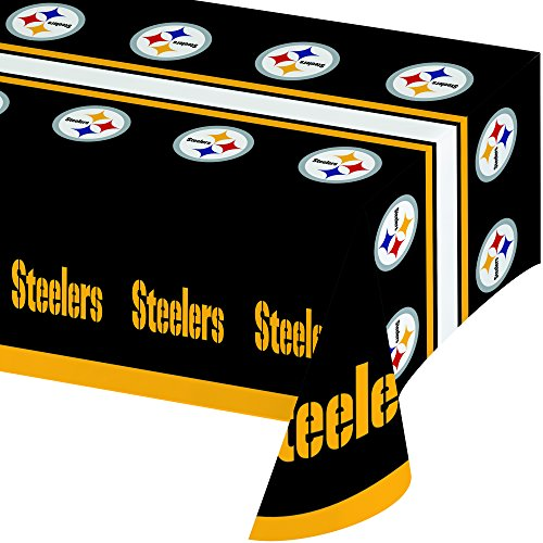Creative Converting Officially Licensed NFL Plastic Table Cover, 54x102, Pittsburgh Steelers