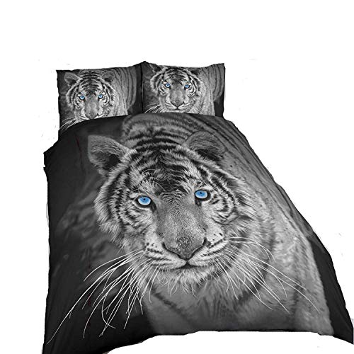 ARLINENS New 3D Effect Animal Printed duvet cover Bedding set with Pillocases in following Designs and Sizes: (BlackWhiteTiger, SINGLE)