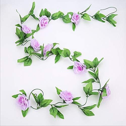 RAQ Roses Vine met groene blaadjes bruiloftsdecoratie blad hangende slinger vervalste roos vine China paars (light purple)