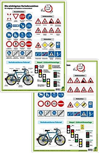 Verkehrszeichen für Fußgänger und Radfahrer - DUO-Schreibunterlage klein