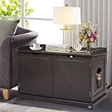 """4everwinner Cat Litter Box Enclosure Furniture Pet House Indoors Cat Washroom Bench Side Table Nightstands 37.3""""L x 18.9""""W x 22.4""""H, Brown"""