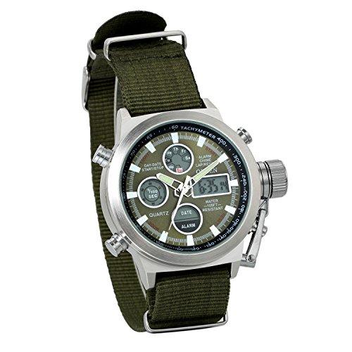 JewelryWe Reloj Militar Deportivo Noctilucente, Cuarzo de Movimiento Japonés, Correa de Nylon Impermeable para Aire Libre, Reloj de Hombre, Verde