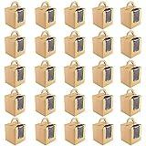 25 Piezas Cajas de Cupcakes, Caja Pasteleria, Cajas de Magdalenas, Individual Papel kraft Cajas de Regalo Cupcakes con Manija y Ventana de Visualización para Cumpleaños, Fiesta, Boda (Marrón)