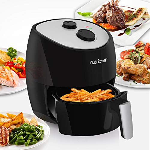 NutriChef Air Fryer Large Convection Oven 3.7 Qt Capacity Stainless Steel Basket Electric Multi Cooker-1300 Watt High Power Oilless Kitchen Hot Toaster Cooker-3L Non Stick Teflon Fry Quart, Black