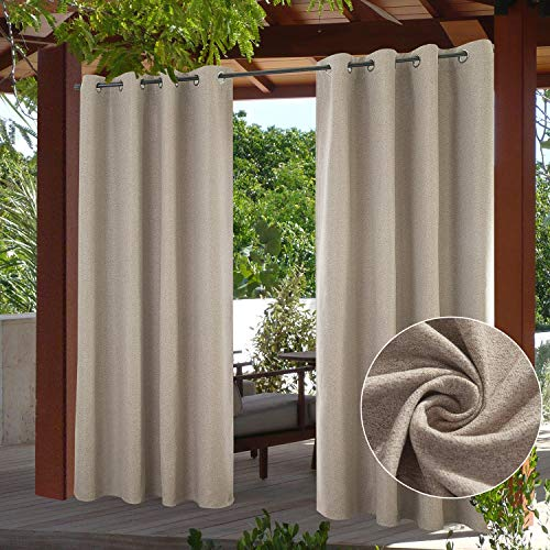 PRAVIVE Outdoor Patio Blackout Curtains - Stainless Steel Grommet Waterproof Suede Blinds for Outside Sun Blocking Shades for Cabin/Farmhouse/Pergola/Cabana/Corridor, 52' W x 95' L, Taupe, 1 Pc