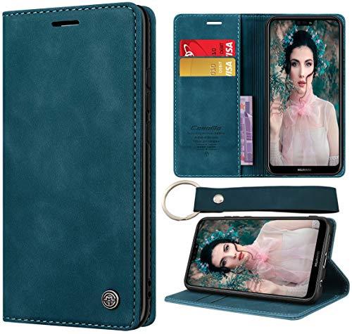 CaseNN Kompatibel mit Huawei P20 Lite Hülle Handyhülle Premium Leder Flip Case Magnetisch Klapphülle Wallet Lederhülle Bumper Schutzhülle Geldbörse Silikon Bumper mit Schlüsselanhänger - Blaugrün