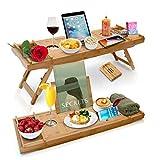 Bambus Badewannenablage Bettablage Sofaablage Badewannen Ablagen 2 in 1 Halterung für Weinglas Glas Tablet Buch Smartphone Länge 75-108 cm Ausziehbar mit Seifenschale