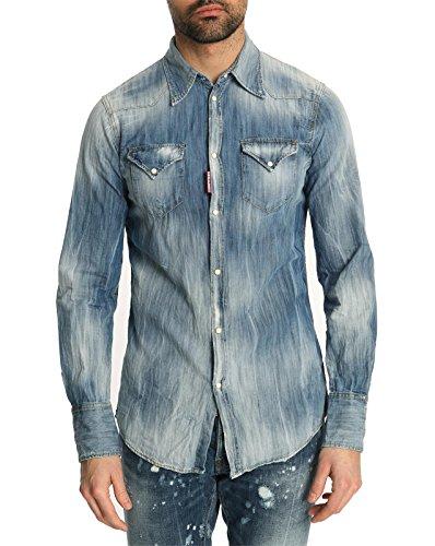 Dsquared - Hemden Casual - Herren - Gebleichtes Western-Denim-Hemd für herren - 52
