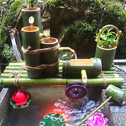ZLBIN Bamboo Accents Springbrunnen ,Solar Springbrunnen FüR Den Garten Bambus Wasserspiel Auslauf Mit Pumpe Gartendekoration Skulptur Deko Statuen,50CM
