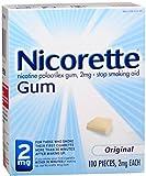 Nicorette Stop Smoking Aid 2 mg Gum Original 110 Each (Pack of 3)
