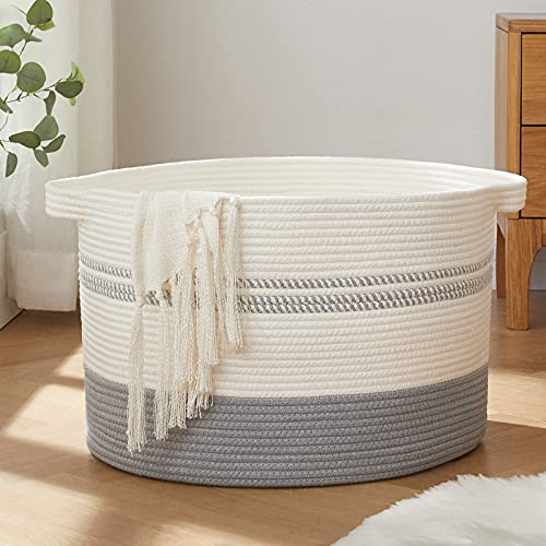 OIAHOMY Laundry Basket-Woven Storage Basket Large Cotton Rope Basket with Handles Decorative Blankets Basket for Living Room, Storage Basket for Toys Bin, Pillows, Towels and Clothes-20x13-White&Jute