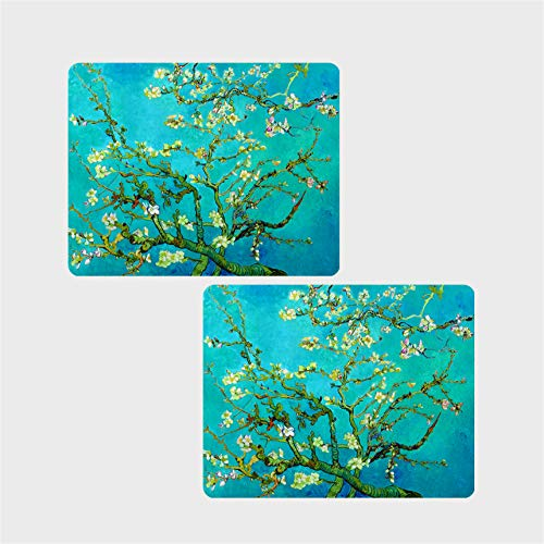 E - Living 10.5 x 7.5 inch Non - Slip Rubber Office/Game Mouse Pad - 4 Designs with Van Gogh/Monet Oil Painting Masterpieces (Almond Blossom/Starry Night/Water Liles) (Almond Blossom)