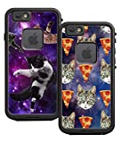 Teleskins Protective Designer Vinyl Skin Decals/Stickers for Lifeproof Fre iPhone 6 / 6S Case - Cats Flying Space Hipster Triangles and Galaxy Hipster Cat Pizza Design Pattern [Pack of 2 Skins]