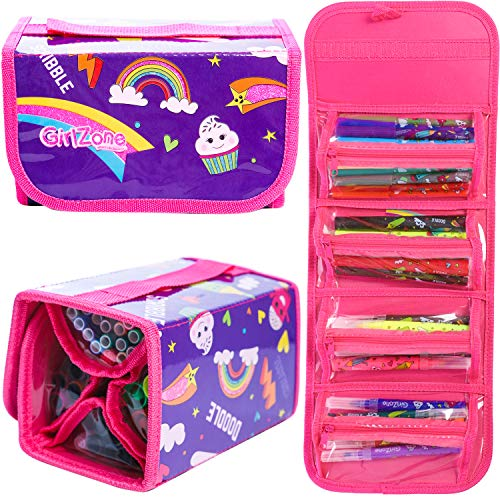 GirlZone: Arts and Crafts Fruit Scented Markers and Pencil Case For Girls, Great Gifts For Girls