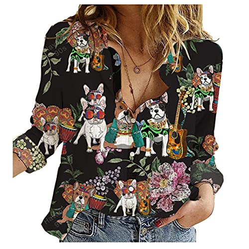 French Bulldog Hawaiian Shirt Dog Player Hippie Womens Long Sleeve Button Down Cotton Linen Shirt Blouse Loose Fit Casual V-Neck Tops Full Size