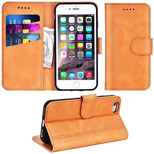 Adicase iPhone 6 Hülle Leder Wallet Tasche Flip Case Handyhülle Schutzhülle für Apple iPhone 6 / 6S 4,7 Zoll (Braun)