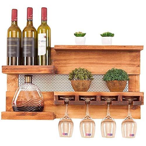 BFDMY Botellero, Botellero, Madera Botellero De Madera De Pared con 4 Soportes para Copas De Vino Decorativo para Salón O Cocina