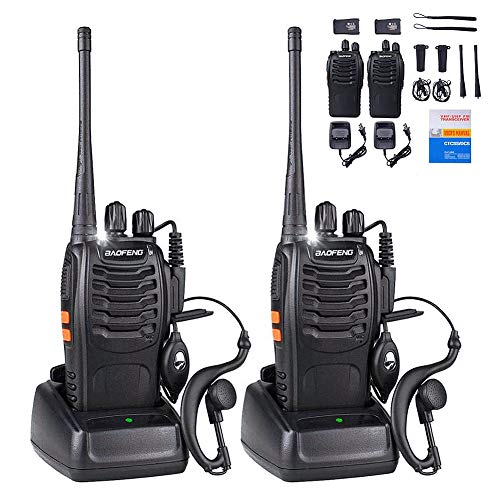 BaoFeng Walkie Talkies Rechargeable Long Range FRS Two-Way Radios with Earpiece 2 Pack UHF 400-470Mhz Adult Walkie Talkie Li-ion Battery and Charger Included