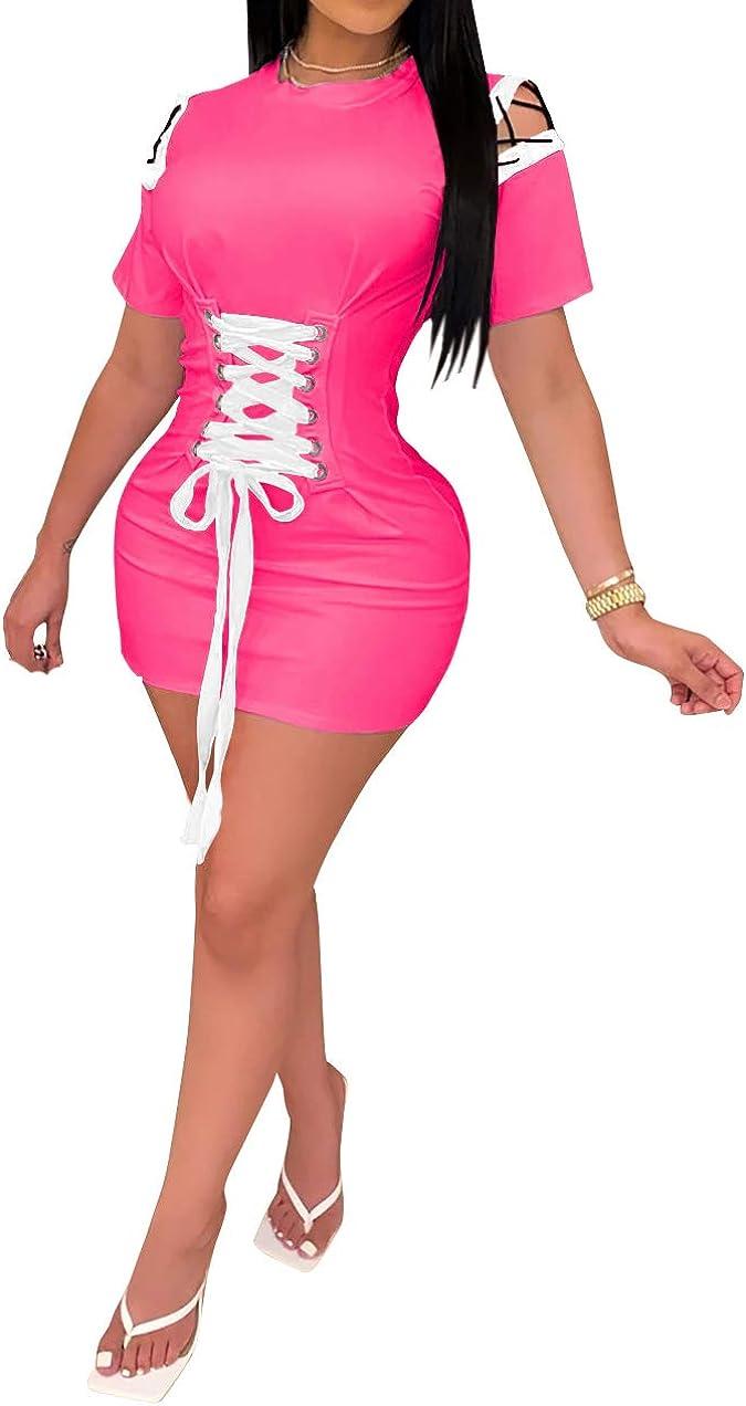 OLUOLIN Womens Lace Up Waist Short Sleeve Casual Bodycon Mini Dress Color Block Club Wear