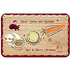 Image: ORIENTAL CHERRY Santa Cookie Plate - Christmas Decorations for Kids - Xmas Eve Santa Treat Board Wooden Tray Plate Platter Mat