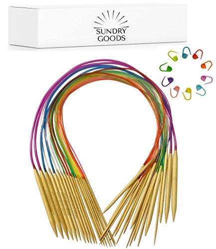 Circular Knitting Needles Set by SundryGoods - Bamboo Wood - Flexible - 18 Sizes: 2 mm - 10 mm (US sizes 0-15), Length: 80 cm (32 inch US) - Bonus Stitch Markers