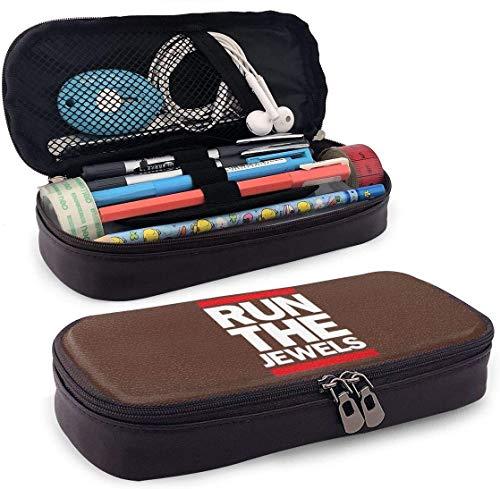 Courir les bijoux étui à crayons en cuir sac de cosmétique de voyage portable pour étudiants garçons fille adultes