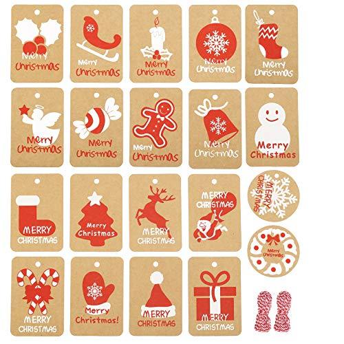 Etiquetas Kraft Redondas Navidad Marca LAITER
