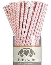 EinsSein 100x Papieren rietjes Golfen L 19,5cm roze rietje paper straws biologisch afbreekbaar feest cocktails gestreept natural afbreekbare hartjes bruiloft cake pops sticks drankje partij verjaardag