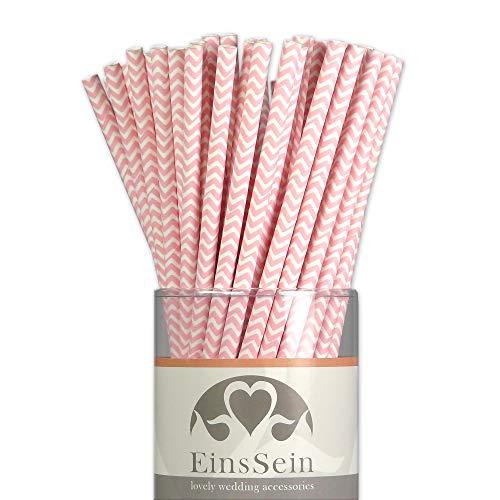 EinsSein 25x Papierstrohhalme Wave rosa Hochzeit Party Geburtstag Strohhalme Trinkhalme Cake Pops Sticks und Candy Bar-Zubehör Stiele Papier Pappgeschirr Straws