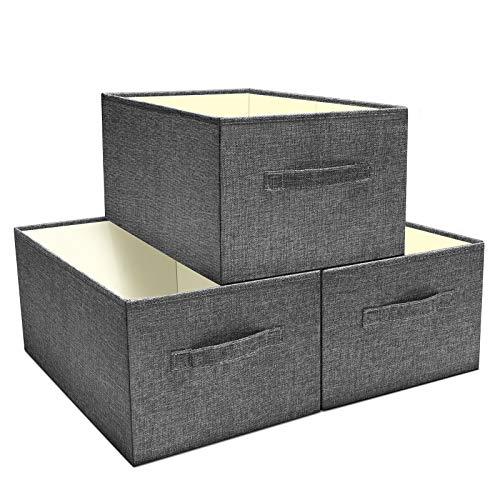 SHAN ZU Lot de 3 Boites de Rangement en Tissu, Paniers de Rangement Pliable Cube, Caisse de Rangement sans Couvercle, Organisateur Tiroir avec Poignée, Idéal pour Ranger Vêtements, Jouets, Livres