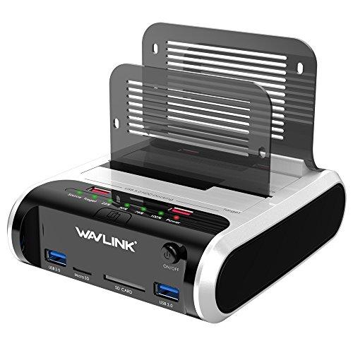 Festplatten Dockingstation, WAVLINK USB Festplatten Docking Station Offline Klonfunktion für 2,5 Zoll & 3,5 Zoll SATA HDD SSD, Unterstützt TF & SD Karte und USB-Aufladung