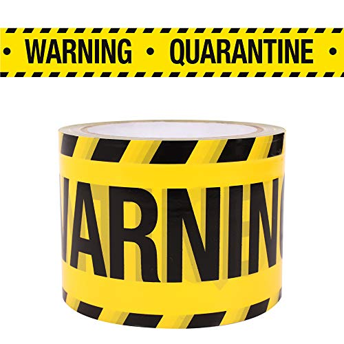Quarantine Warning Yellow Tape, 3 Inch x 300 feet Weatherproof Resistant Design Tape for Quarantine Are Birthday Party Decorations