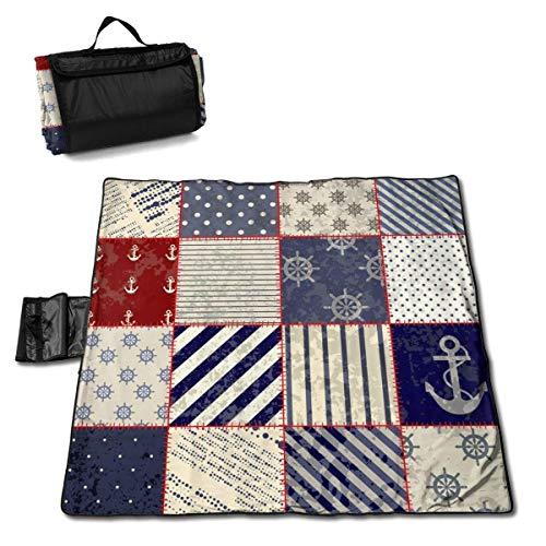 GuyIvan Picknickdecke Nautical Maritime Nautical Anchor Vintage Sailor Waschbar Große Picknick- und Stranddecke Handy Mat