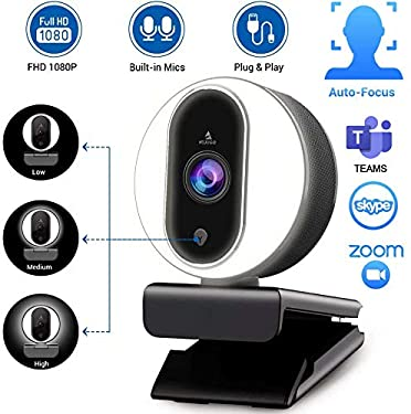 2020 NexiGo Streaming Webcam with Ring Light and Dual Microphone, Advanced Auto-Focus, Adjustable Brightness with Touch Control, 1080P Web Camera for Zoom Skype Facetime, PC Mac Laptop Desktop