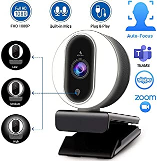2020 NexiGo Streaming Webcam with Ring Light and Dual Microphone, Advanced Auto-Focus, Adjustable Brightness with Touch Co...