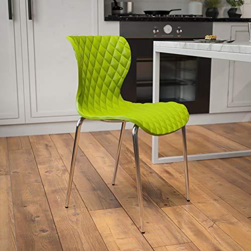 Flash Furniture Lowell Contemporary Design Citrus Green Plastic Stack Chair