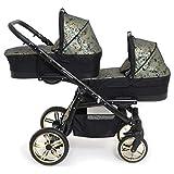 Carro gemelar 3en1 BBtwin Onyx Tandem desde nacimiento hasta los 3 años cochecito doble trio (dorado)