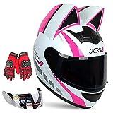 Kuaifly Personalized Cool Cat Ear Electric Motorcycle Helmet Winter Full Helmet Men and Women Racing Shaped Motorcycle Helmet,White Pink,M