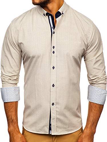 BOLF Herren Hemd Langarm Button-Down Kragen Slim Fit Streifen Muster Casual Style 9710 Beige M [2B2]