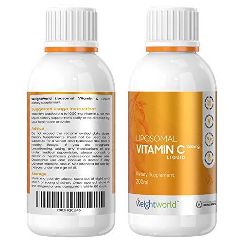 Vitamina C Liposomal 1000mg Líquida 250ml Vegana - Con Vitamina D Ácido Ascórbico y Acerola, Aumenta la Energía, Vitamina C Pura de Alta Absorción, Reduce Cansancio y Fatiga, Potente Antioxidante