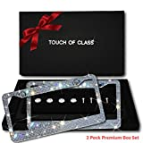 Bling License Plate Frame Set: Touch of Class Diamond Cut Rhinestone License Plate Frame for Women - Cute & Sparkly Bedazzled Stainless Steel Car Plate Frames - Glitter Crystal Car Accessories, 2 Pack