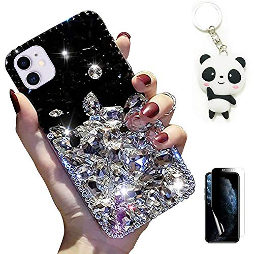 Artfeel Hülle für Samsung Galaxy Note 20,Bling Glitzer Funkeln Diamant Glänzend Klar Transparent Strass Handyhülle mit Süß Panda Schlüsselanhänger und Displayschutzfolie,Schwarz + Weiß