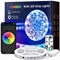 MINGER LED Strip Lights, 16.4ft Bluetooth LED Lights with App Control, Remote, Control Box, Music Sync Light Strip for Bedroom, Living Room, Kitchen, Flexible RGB LED Lights Strip with 7 Scene Modes