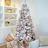 QTQHOME Pre-Cama Árbol De Navidad con Ornamento Y Luces Led,Blanco PVC Abeto Árbol Navideña Salón Tienda Casa Decoración Navideña,Árbol De Navidad Artificial Nieve Acudieron-Blanco 210cm/7ft