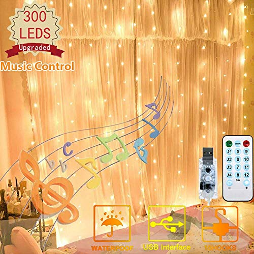 FANSIR 300 LED Curtain Lights, USB Window Lights, 4 Music & 8 Lighting Modes Remote Control Fairy Light Waterproof LED Copper String Lights for Outdoor Indoor Wedding Party Bedroom (Warm White)